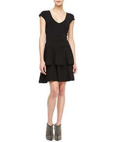 Tiered-Skirt Stretch Knit Dress   Tiered-Skirt Stretch Knit Dress