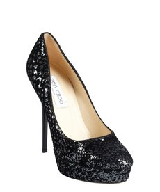 Jimmy Choo black suede and sequined burnout 'Cosmic' platform pumps