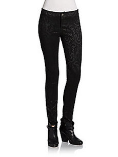 Saks Fifth Avenue RED Lace Jacquard Ponte Skinny Pants