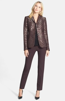 Lafayette 148 New York Jacquard Jacket, V-Neck Top & Pants