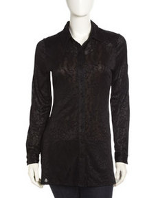 Isaac Mizrahi Textured Burnout Tunic, Black