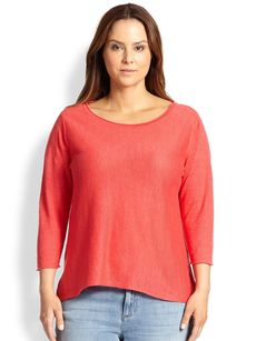 Eileen Fisher, Sizes 14-24 Linen Three-Quarter-Sleeve Top
