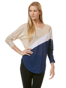 linen colorblock long sleeve dolman top