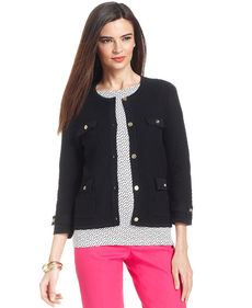 Jones New York Signature Petite Button-Front Textured Cardigan