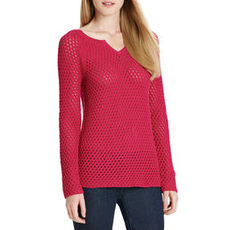 Long Sleeve Split Neck Sweater