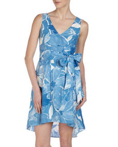 Lafayette 148 New York Floral-Print Linen Dress