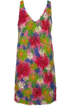 Marni Fringed printed cotton-blend dress
