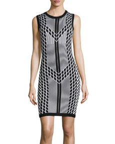 Susana Monaco Sleeveless Geometric-Print Knit Dress, Black/White