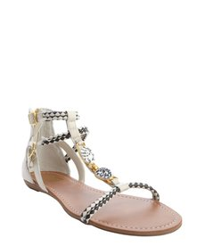 DV by Dolce Vita bone and black woven leather 'Desta' sandals