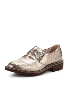 Brunello Cucinelli Crackle Metallic Slip-On Loafer, Silver