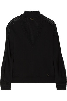Roberto Cavalli Pointelle and lace-trimmed wool-blend sweater