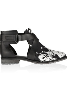 Tibi Gail printed canvas and matte-leather ankle boots
