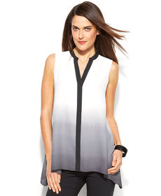 Alfani Petite Sleeveless Button-Front Ombre Tunic