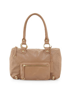 Linea Pelle Dylan Perforated Leather Duffle Tote, Beige Nougat