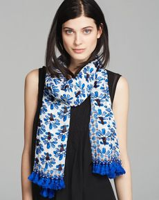 Tory Burch Corsage Mixed Oblong Scarf