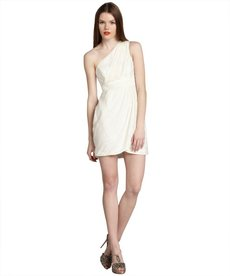 Shoshanna ivory leaf pattern 'Melanee' one shoulder dress