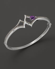 Badgley Mischka Amethyst Logo Cuff With Brown Diamonds