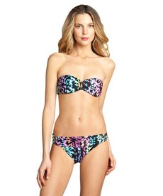 Shoshanna black printed stretch nylon 'Kailua Geo' bikini brief