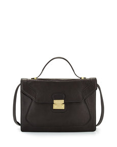 Foley + Corinna Attache Pebbled Leather Satchel, Black