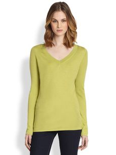Saks Fifth Avenue Collection Silk/Cashmere V-Neck Pullover