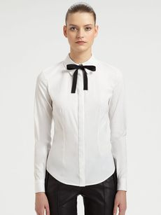 Jason Wu Bow-Neck Cotton-Blend Shirt