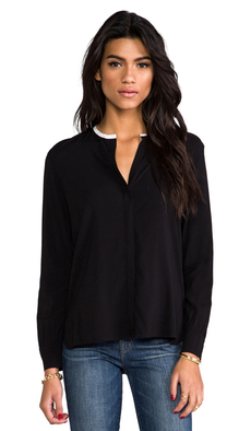 James Perse Contrast Collar Blouse in Black
