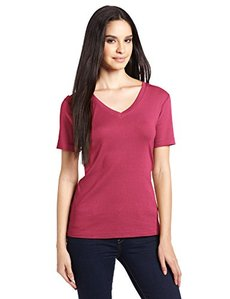 Three Dots Red Women's Short Sleeve Mid-V