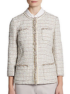 Lafayette 148 New York Fringe-Detail Boucle Jacket