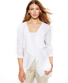 MICHAEL Michael Kors Long-Sleeve Draped Cotton Cardigan