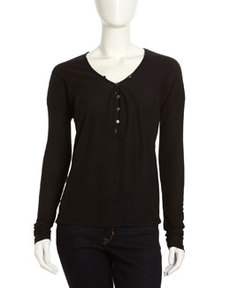 James Perse Button-Front Henley, Black