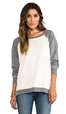 Saint Grace Cotton Fleece Ansel Contrast Sweatshirt in Cream