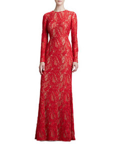 Long-Sleeve Lace Gown   Long-Sleeve Lace Gown
