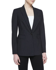 Escada Pinstripe One-Button Blazer