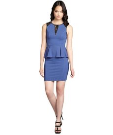 A.B.S. by Allen Schwartz cadet blue ribbed cotton blend lace panel peplum dress