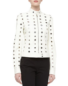 Michael Kors Grommet Detailed Leather Moto Jacket, Optic White