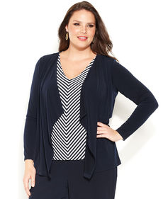 Jones New York Collection Plus Size Long-Sleeve Draped Cardigan