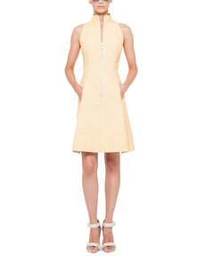 Akris punto Tweed Zip-Front Mock-Collar Dress