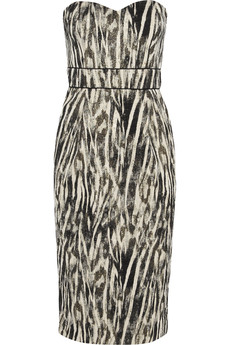 Badgley Mischka Zebra-print crepe dress
