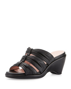 Taryn Rose Maison Ruched Wedge Slide, Black