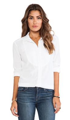 James Perse Cotton Gauze Tuxedo Shirt in White