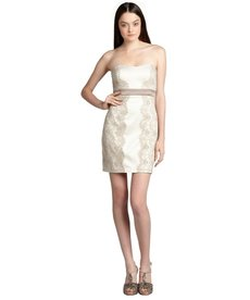Max & Cleo nude satin lace 'Olivia' strapless cocktail dress