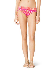 MICHAEL Michael Kors Mixed-Print Side-Ruch Swim Bottom