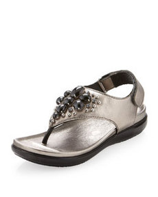 Donald J Pliner Hilton Metallic Beaded Thong Sandal, Pewter
