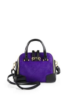 Furla Exclusively for Saks Fifth Avenue Calf Hair and Patent Leather Satchel