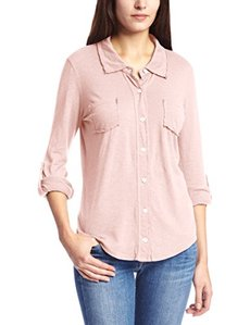 Michael Stars Women's Luxe Slub Raw Edge Fitted Button Down Shirt