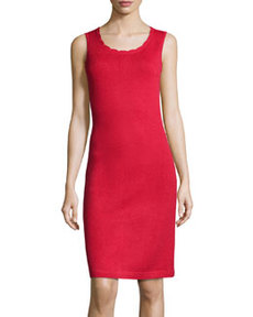 St. John Scallop-Trim Knit Tank Dress, Ruby