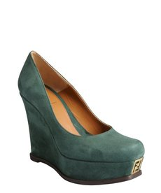 Fendi forest green suede logo platform wedge heels