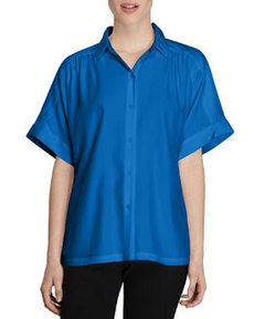 Lafayette 148 New York Alma Short-Sleeve Silk Blouse