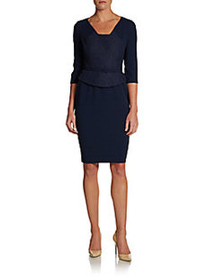 David Meister Belted Lace-Front Peplum Dress