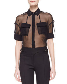 Sheer Silk Utility Shirt, Black   Sheer Silk Utility Shirt, Black